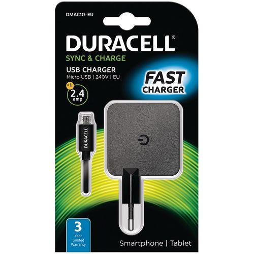 Duracell Punjač – Uni 1xUSB +MicroUSB cable- 2.4A - Black  slika 1