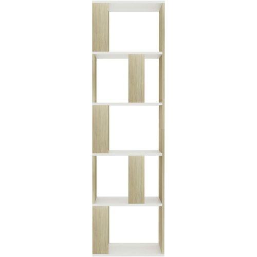 Ormarić za knjige / pregrada bijeli/hrast 45x24x159 cm iverica slika 5
