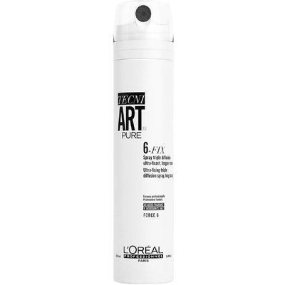 L'Oréal Professionnel Tecni.Art 6-fix je naš najjači sprej za učvršćivanje. Suhi sprej sa trostrukom difuzijom, za efekt učvršćenja kose do 24 sata* i zaštitom od vlage. Sprej pruža dugotrajno držanje, brzo se suši na kosi i ne ukrućuje. Idealan proizvod ako želite da kosa bude na mjestu i osigurana. Savršen za kontrolu zaglađenog repa i kontrolirani sjaj prilikom feniranja kose.  *Instrumentalni test