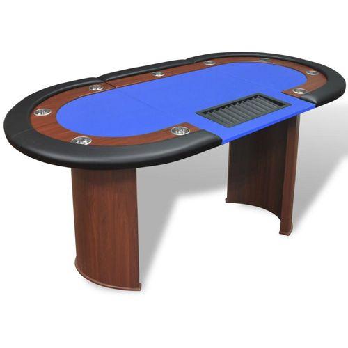 Stol za Poker za 10 Igrača s Prostorom za Djelitelja i Držačem Žetona Plavi  slika 1