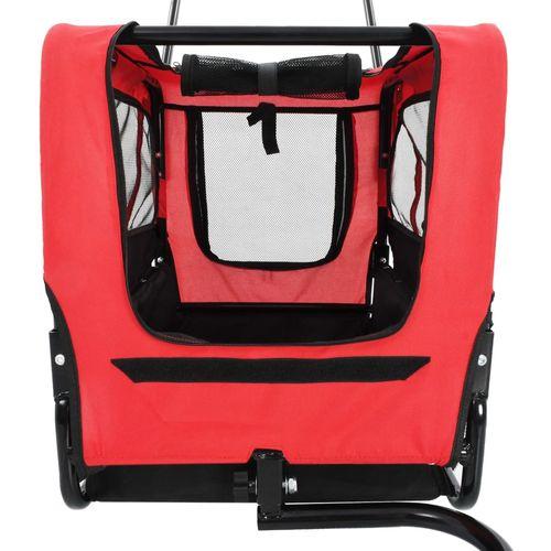2-u-1 prikolica za bicikl i kolica za kućne ljubimce crveno-crna slika 5
