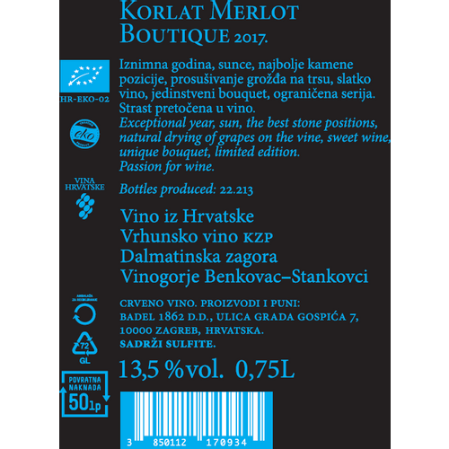 Korlat Boutique Merlot EKO 2017 0,75L, zaštićena oznaka izvornosti slika 2