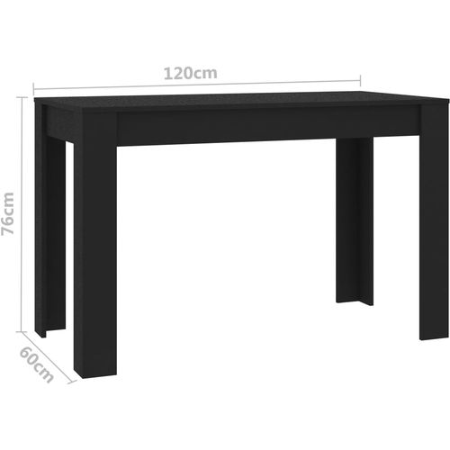 Blagovaonski stol crni 120 x 60 x 76 cm od iverice slika 6