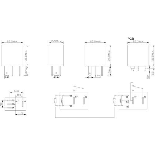 Relej za automobile FRC7C-S-DC12V, 12 V/DC, 1 preklopni kontakt, NO 25 A, NC 20 A, 14 V/DC FiC slika 3