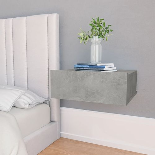 Viseći noćni ormarić siva boja betona 40x30x15 cm od iverice slika 8