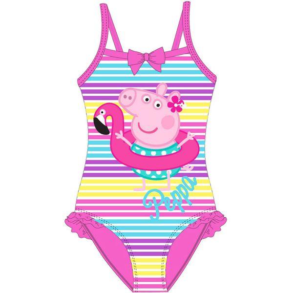 Presladak jednodijelni kupaći kostim s likom Peppe Pig u rozoj boji.  Veličine: 3/3(4)-4/5(4)-6/7(4)  Sastav: 88% poliester,12% elastan.