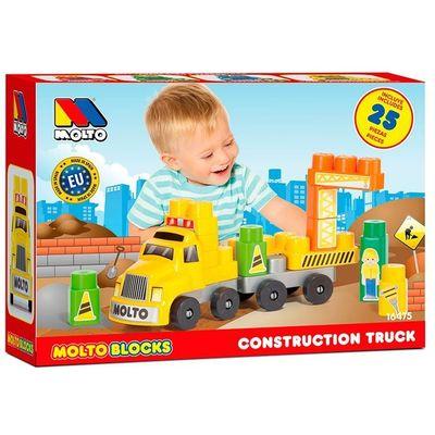 Set se sastoji od kamiona i 25 kocki za slaganje.    Sjajan način za zabavu tijekom učenja i pojačavanje osnovnih pojmova poput boja, veličina, oblika i ekvivalencija.