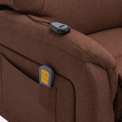 Električni masažni TV naslonjač na podizanje od tkanine smeđi slika 30