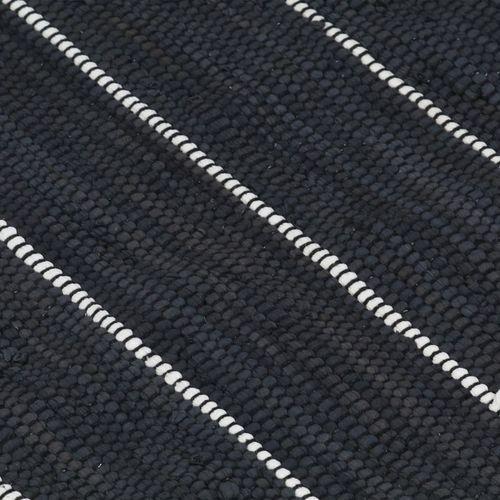 Ručno tkani tepih Chindi od pamuka 80 x 160 cm antracit slika 6