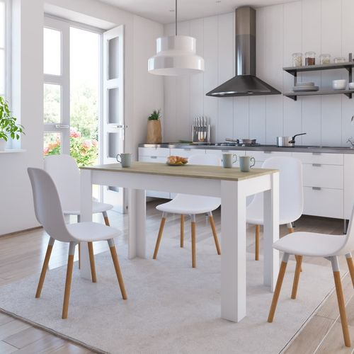 Blagovaonski stol bijeli i boja hrasta 120 x 60 x 76 cm iverica slika 1
