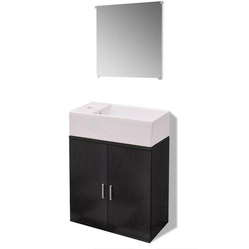 3-Dijelni Komplet Namještaja za Kupaonicu s Umivaonikom Crni  slika 20