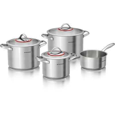 Set Mehrzer Inox lonaca 4-djelni  Najnovija kolekcija Mehrzer inox posuđa savršen je odabir za one koji žele kvalitetan i izdržljiv kuhinjski set lonaca po prihvatljivoj cijeni.