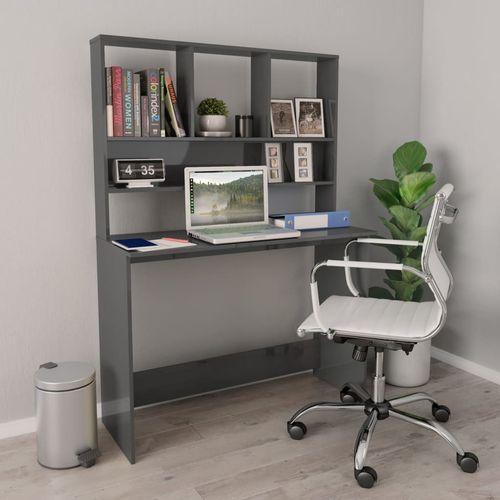 Radni stol s policama visoki sjaj sivi 110x45x157 cm iverica slika 1