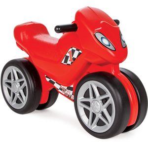 Moj Prvi Motor guralica je izuzetno stabilna guralica, sa širokim, duplim kotačima. Posjeduje sirenu, za dodatnu zabavu. Sportske naljepnice daju guralici moderan izgled. Guralica se lako sklapa i pri sklapanju se ne koriste vijci. Veličina guralice je 42x30x65cm, a maksimalna nosivost 35 kg. Dob: 3+