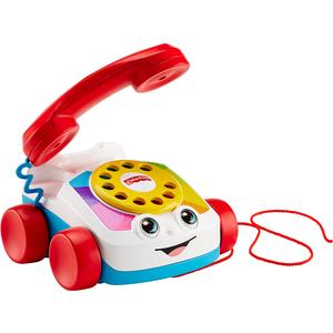 Sa svojim prijateljskim licem, brojčanikom na okretanje, zabavnim zvukovima zvonjenja i očima koje se pomiču gore – dolje kako se povlači, Fisher- Price telefon na povlačenje pomaže djetetu u čavrljanju i igri kao pravi profesionalac!