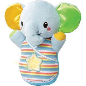 The Snooze & Soothe Elephant by VTech is an adorable and cuddly little friend to comfort baby when it's time to go to sleep.   The elephant has a variety of soft fabrics which provide comforting tactile stimulation. Cuddling the elephant and pressing the elephant's light up button triggers responses, including 2 gentle sing-along songs, 30 calming melodies, relaxing nature sounds and loving phrases designed to soothe your little one, whilst promoting sensory and auditory development. Squeeze the elephant's glowing light up button to pause or play the current response.   The electronic module is removable, allowing the elephant to be hand washed.