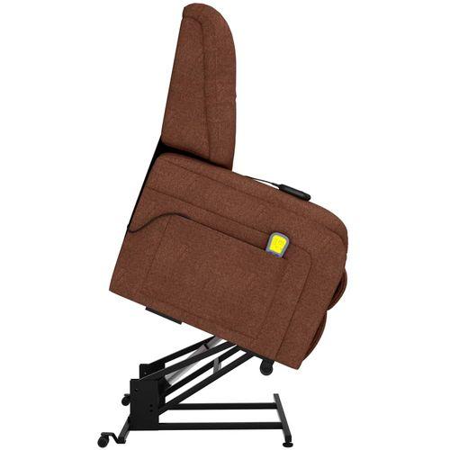 Električni masažni TV naslonjač na podizanje od tkanine smeđi slika 19