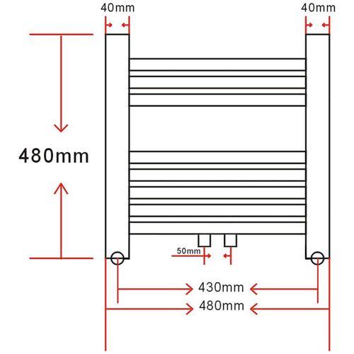 Kupaonski Radijator za Centralno grijanje Zaobljenih cijevi 480 x 480 mm Bočni & Srednji priključak  slika 9