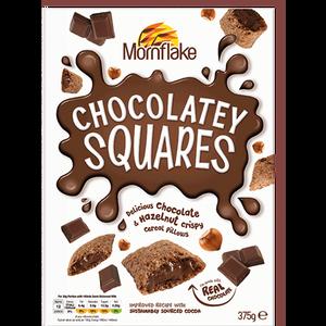 MORNFLAKE čokoladni jastučići 375g HRSKAVI JASTUČIĆI OD ŽITARICA S PUNJENJEM OD ČOKOLADE I LJEŠNJAKA I DODATKOM VITAMINA I ŽELJEZA  Primjereno za vegetarijance i vegane.