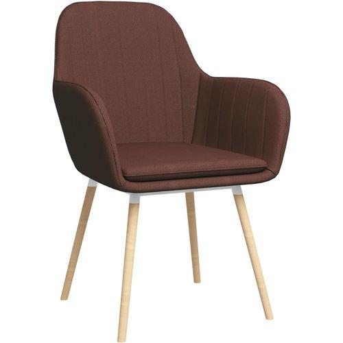 Blagovaonske stolice s naslonima za ruke 2 kom smeđe od tkanine slika 2