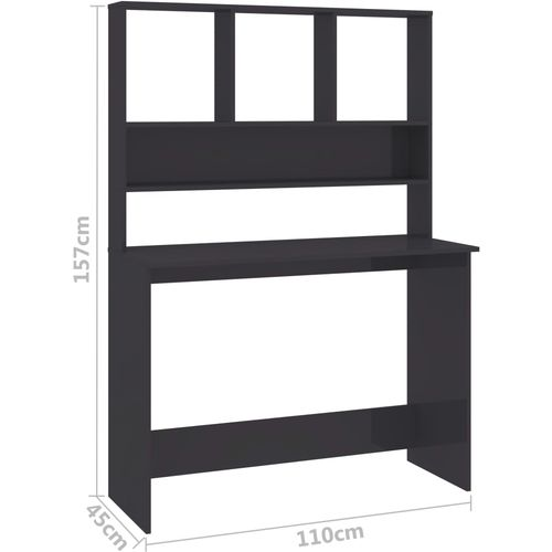 Radni stol s policama visoki sjaj sivi 110x45x157 cm iverica slika 20