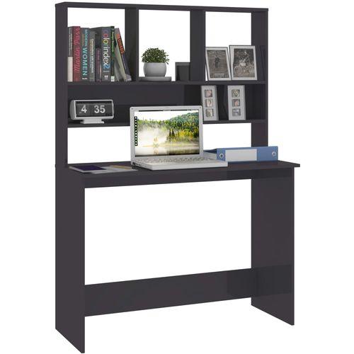 Radni stol s policama visoki sjaj sivi 110x45x157 cm iverica slika 9