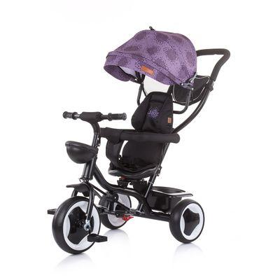 Tricikl je prikladan za djecu u dobi od 18 mjeseci i do 25 kg;    Višenamjenski proizvod s 2 različita načina uporabe - roditelj gura dijete ili dijete samo vozi pomoću pedala    Krović, roditeljska ručka i štitnici odbojnika mogu se ukloniti, pa se tricikl pretvara u trike za veće dijete;    Sjedalo se okreće za 360 stupnjeva;    Dva položaja sjedala - okrenuto prema naprijed i licem u lice;    Sjedalo je opremljeno sigurnosnim odbojnikom koji se otvara sprijeda;    Torba s priborom na dršci;    Sklopivi i pomični oslonac za noge;  Sklopivi krović za sunce;    Široko i udobno sjedalo s mekanim podstavljenim tekstilnim prekrivom    Sjedalo ima sigurnosni pojas;    Košara za skladištenje sprijeda i straga;    Prekrivač kotača na prednjem kotaču, sprječavajući zahvat dječjih nogu;    Papučice kočnica na stražnjim kotačima;    Tricikl je proizveden u skladu sa zahtjevima europskih direktiva i standarda koji se odnose na sigurnost igračak