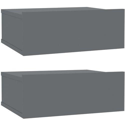 Viseći noćni ormarići 2 kom sjajni sivi 40x30x15 cm od iverice slika 2