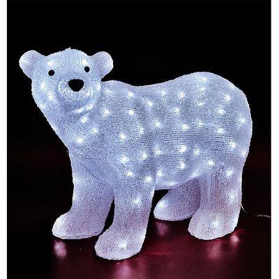 Dekorativna rasvjeta, medvjed, 120 komada bijelih LED lampica, visina 65 cm, dužina napojnog kabla 5 met, napojni adapter AC za vanjsku upotrebu sa IP44 standardom, materijal uzrade akril