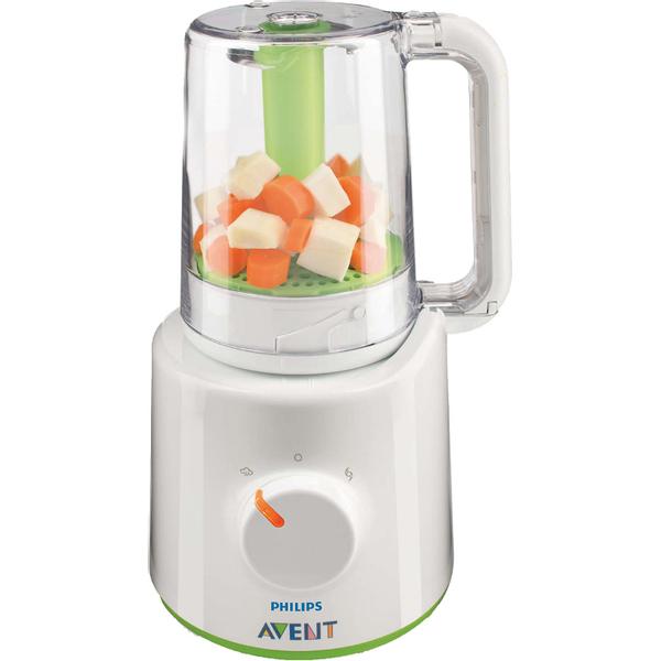 Philips Avent Mikser i kuhalo set 2u1 je kombinirani aparat kuhalo i mikser.  Idealan je za pripremanje zdravih, kod kuće izrađenih dječjih obroka.  Prvo skuhajte na pari: voće, povrće, ribe ili meso i jednostavno podignite, okrenite, protresite posudu i promiješajte.