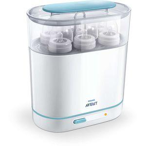 Električni parni sterilizator Philips Avent SCF 284/03 pomaže pri jednostavnom steriliziranju dodataka za bebu. U kuhinji zauzima jako malo prostora, košare su primjerne za bočice s širokim i uskim vratom.