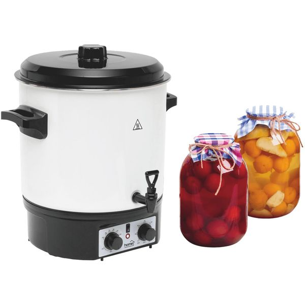 Aparat za sterilizaciju, prokuhavanje hrane, 27 - litreni emaljirani spremnik, za sterilizaciju 14 staklenski od 1 litre, max. 27 litara tekučine za grijanje, ključanje, održavanje toplote ( čaj, kuhano vino ), odvodni ventil, mehanički termosta, timer...