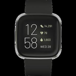 Versa 2 Black - pametni sat za praćenje cjelodnevnih aktivnosti  Glasovno odgovaranje na poruke (samo za Android)  Rezultati sna  24/7 praćenje otkucaja srca  Aplikacije i obavijesti1  Glazba2  Uvijek uključen zaslon - način rada3  5+ dana trajanje baterije4  Fitbit Pay5