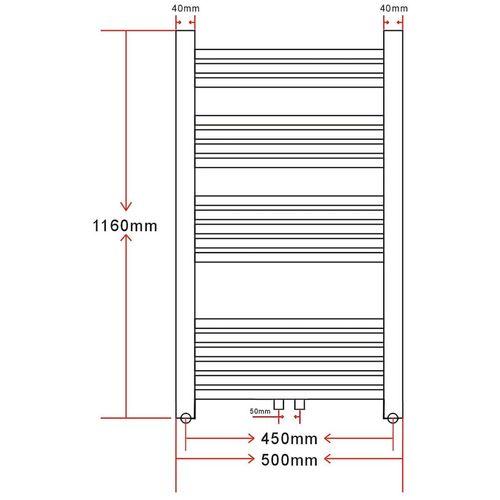 Kupaonski Radijator za Centralno grijanje Zaobljenih cijevi 500 x 1160mm Bočni & Srednji priključak slika 24