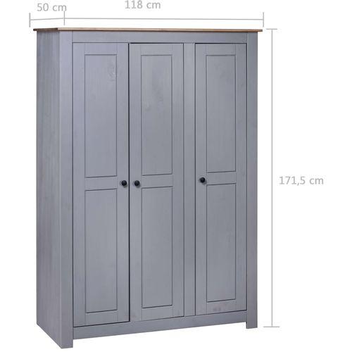 Ormar od borovine 3 vrata sivi 118x50x171,5 cm asortiman Panama slika 7