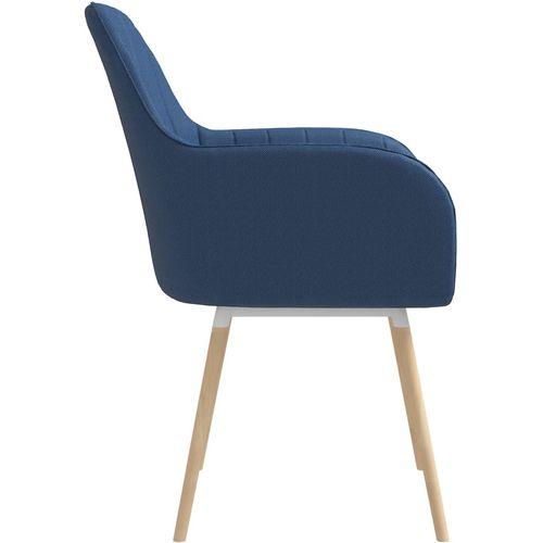Blagovaonske stolice s naslonima za ruke 2 kom plave od tkanine slika 4