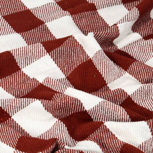 Pamučni pokrivač karirani 125 x 150 cm crvena boja kamena slika 2
