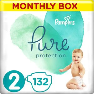 Pampers Pure protection Pelene, mjesečna zaliha pelena.   Veličina 2 (4-8 kg) = ukupno 132 Pelena