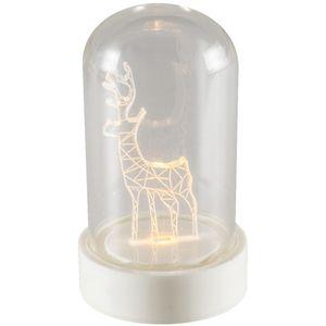 CDM 9/M, stolna dekoracija, jelen, izvor svjetlosti LED, toplo bijela svjetlost, plastično postolje, stakleni poklopac, dimenzije Ø5.5 x 9 cm, prekidač ON / OFF, napajanje baterija CR2032, za unutarnju uporabu