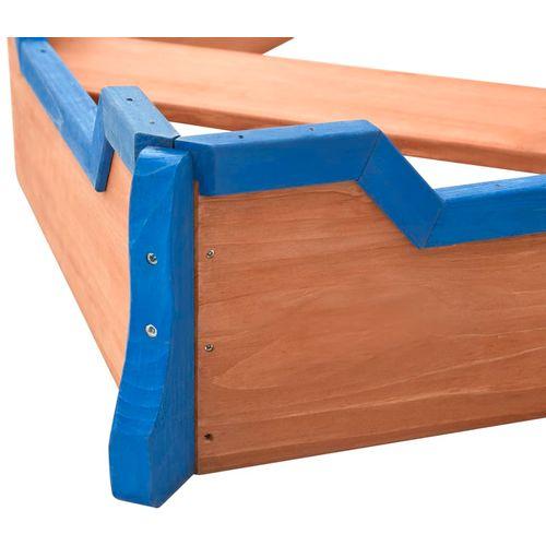Pješčanik u obliku gusarskog broda od jelovine 190x94,5x136 cm slika 22