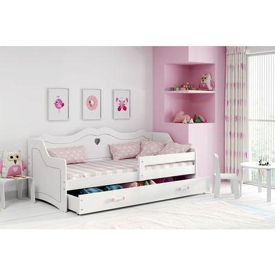 Dječji krevet JULIA je odlično rješenje za sve one koji cijene funkcionalnost, moderan dizajn, preciznost i kvalitetu izrade. Stabilna konstrukcija daje garanciju sigurnosti i udobnosti za vaše dijete. Cijela konstrukcija kreveta je izrađena od punog drva dok su stranice uzglavlja i uznožja od kvalitetnih MDF ploča. Na dnu kreveta se nalazi prostrana i lako dostupna ladica.