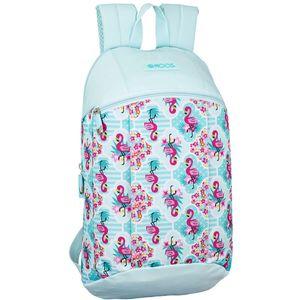 Moos Flamingo Turquoise ruksak s velikim glavnim odjeljkom, prednjim džepom s patentnim zatvaračem, ergonomskim podstavljenim naramenicama i leđima.  Dimenzije: 22x39x10cm