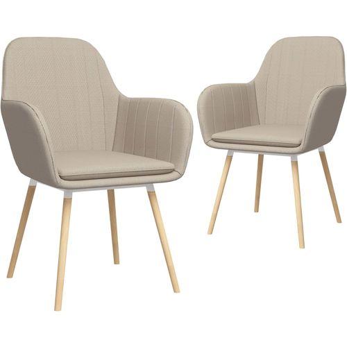 Blagovaonske stolice s naslonima za ruke 2 kom krem od tkanine slika 1