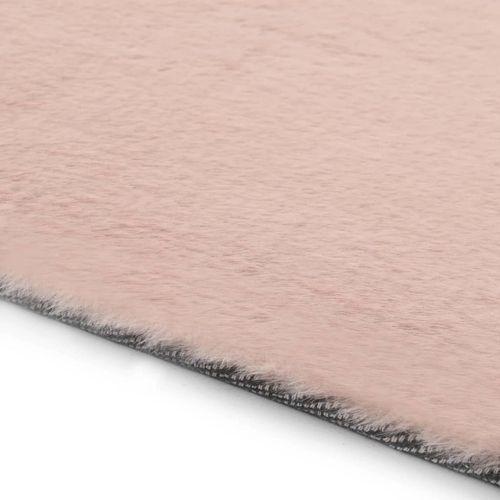 Tepih od umjetnog zečjeg krzna 160 x 230 cm blijedo ružičasti slika 5