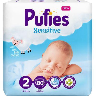 Pufies Pelene Sensitive - Mekane poput oblaka. Izvanredna moć upijanja. Pufies Sensitive pelene su napravljene od posebno mekog hipoalergenog materijala, nježnog za bebinu kožu.