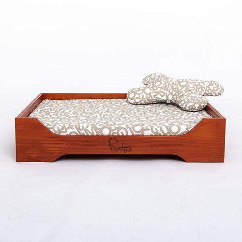 Hudog drveni krevet s jastukom za pse slika 1