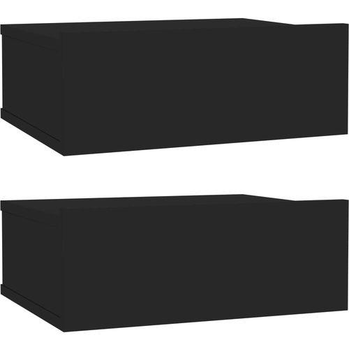Viseći noćni ormarići 2 kom sjajni crni 40x30x15 cm od iverice slika 2