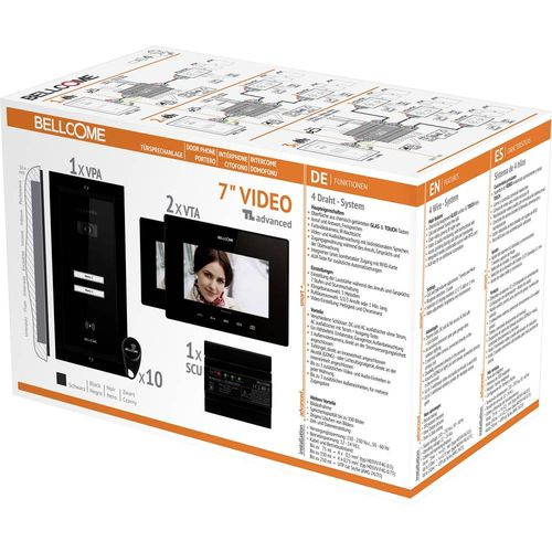 Bellcome VKA.P2FR.T7S9.BLB04 Video portafon za vrata Žičani Kompletan set 2 obiteljske kuće Crna slika 2