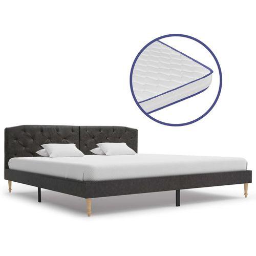 Krevet od tkanine s memorijskim madracem crni 180 x 200 cm slika 1