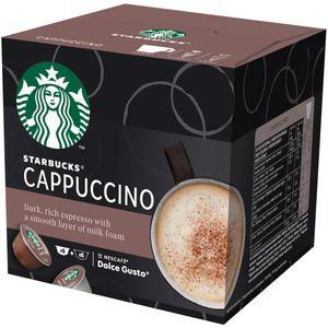 Isprobaj novi NESCAFÉ Dolce Gusto Starbucks! Kao inspiracija joj je poslužio omiljeni STARBUCKS Cappuccino, ona je uravnotežena, podatna i savršeno poznatog okusa, priprema se kod kuće pomoću NESCAFÉ® Dolce Gusto®. Kapsule za kavu STARBUCKS by NESCAFÉ® Dolce Gusto® prikladne su za upotrebu s aparatima za kavu NESCAFÉ® Dolce Gusto®.